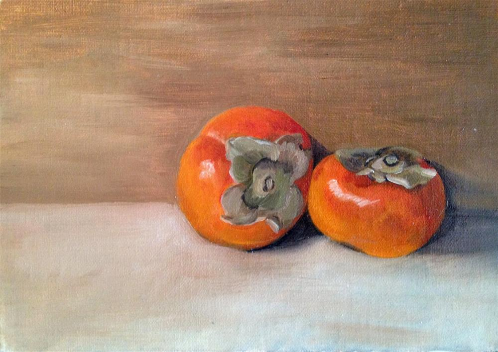 """Two Persimmons"" original fine art by Naomi Hughes"