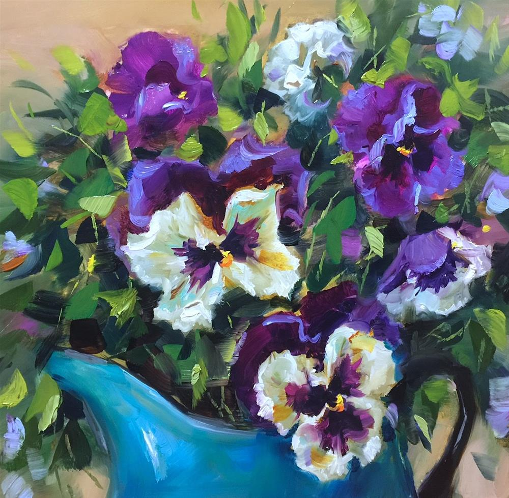 """Look to the Sky Pansies"" original fine art by Nancy Medina"