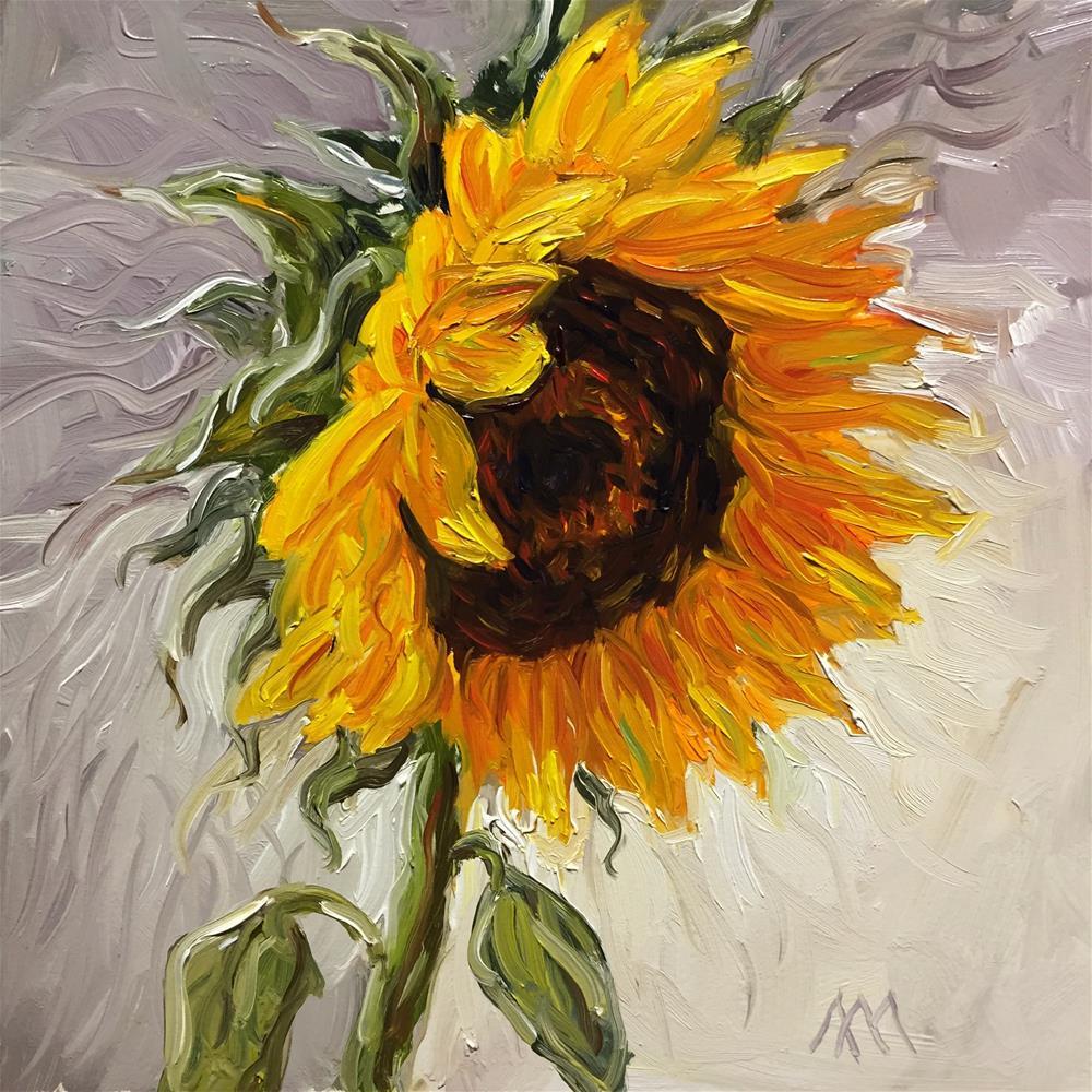 """""""Sunflower on White """" original fine art by Austin Maloney"""