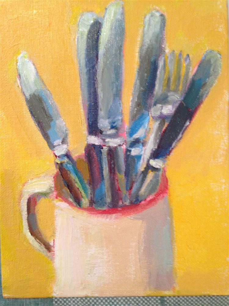 """All Fun and Games Til the Knives Come Out"" original fine art by Marcia Bergtholdt"