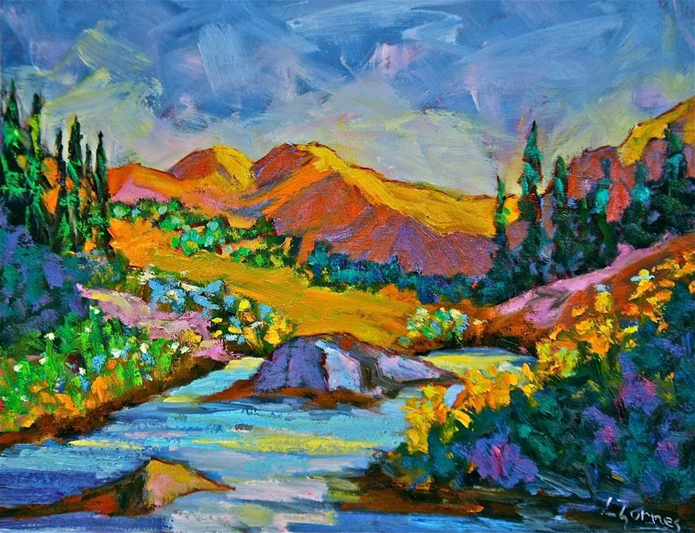 """Rocky Mountain Pond"" original fine art by Liz Zornes"