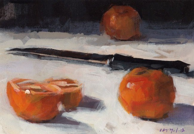 """Clementine Oranges and Knife - Quick Study"" original fine art by David Lloyd"