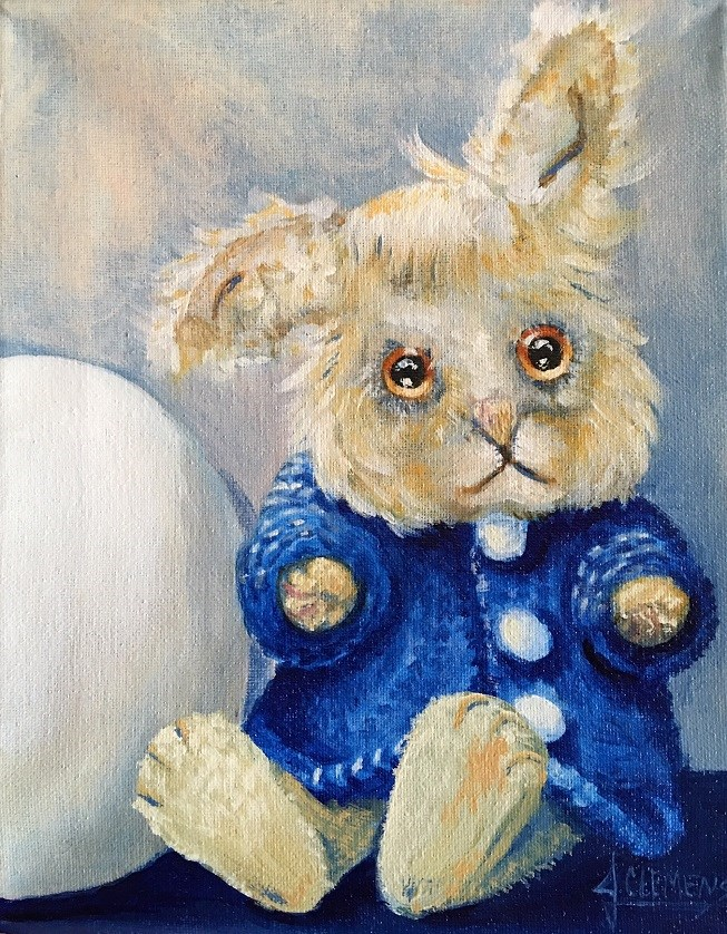 """Teddy Bunny"" original fine art by Jolynn Clemens"