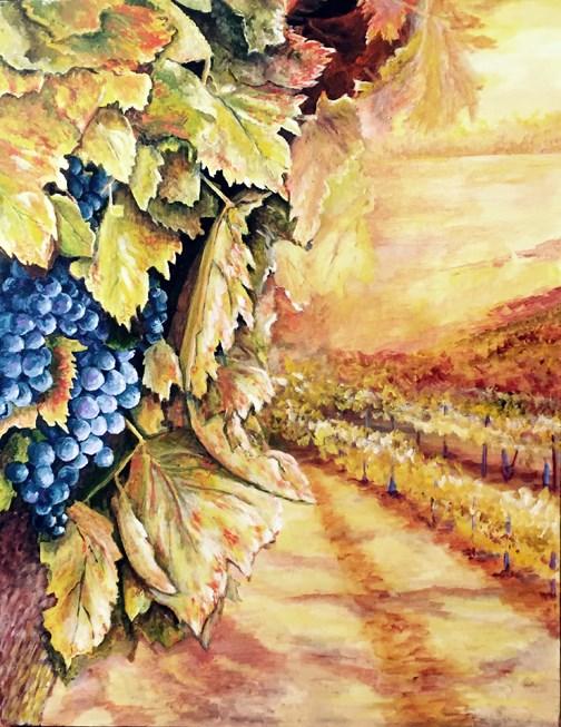"""Vineyard Closeup"" original fine art by Nan Johnson"