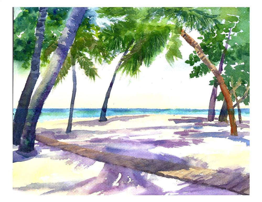 """Palm Tree Shadows"" original fine art by Suzanne Woodward"