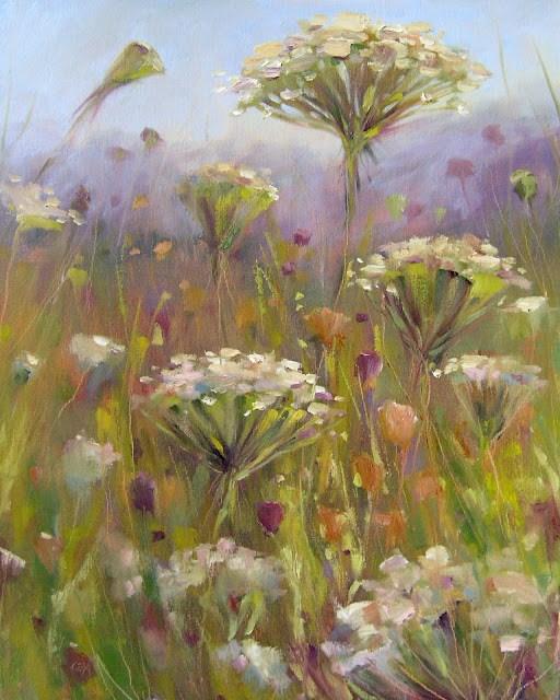 """""""Queen Annes Lace Oil"""" original fine art by Karen Margulis"""