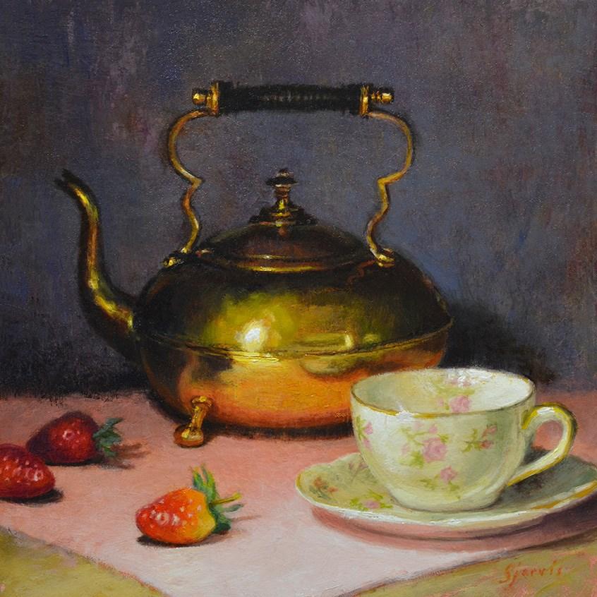 """""""Teacup and Strawberries"""" original fine art by Susan N Jarvis"""