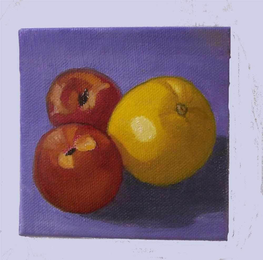 """Nectarines and orange"" original fine art by John Marcum"