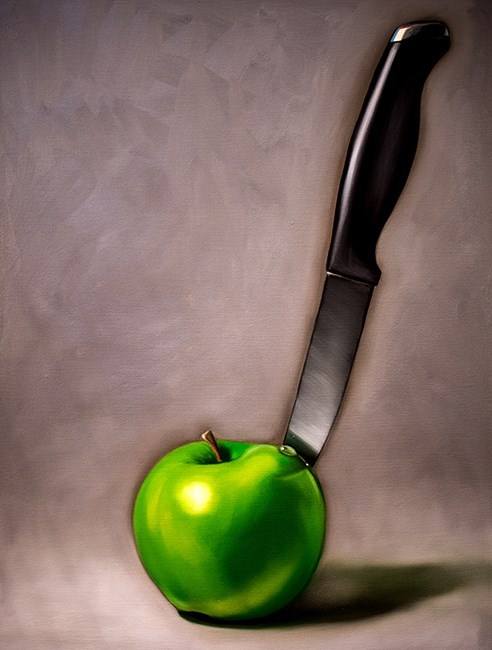 """Apple and Knife"" original fine art by Lauren Pretorius"