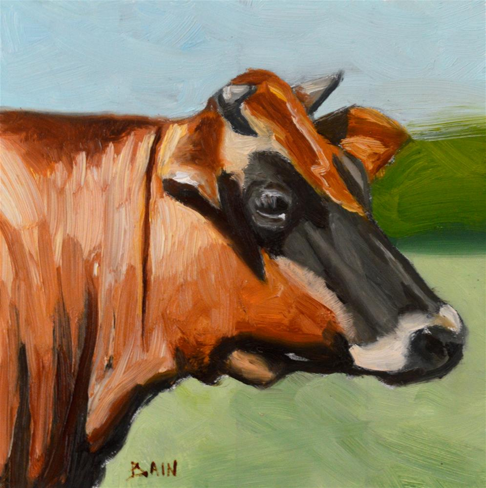 """Cow no. 2"" original fine art by Peter Bain"