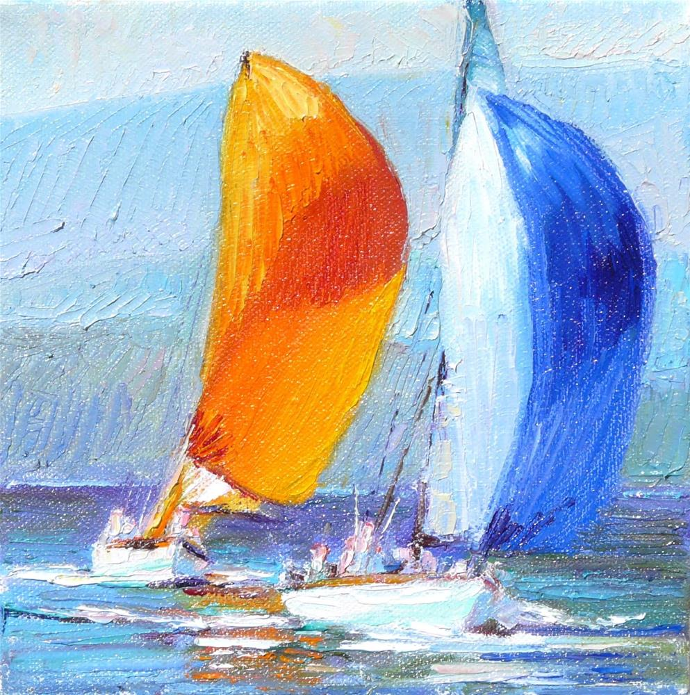 """Two Boats in the Race,seascape,oil on canvas,8x8,price$250"" original fine art by Joy Olney"
