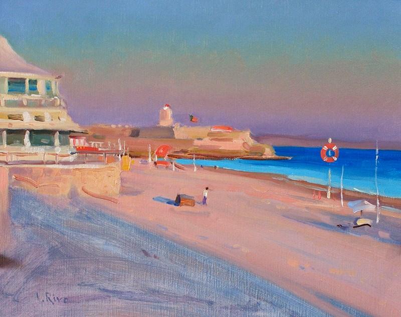 """""""Spring Evening - Carcavelos Beach"""" original fine art by Lena  Rivo"""