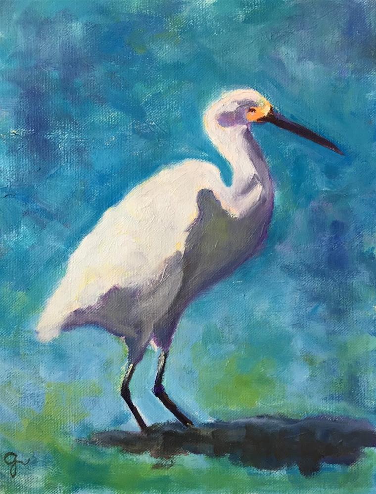 """Heron"" original fine art by Gayle Lambeth"