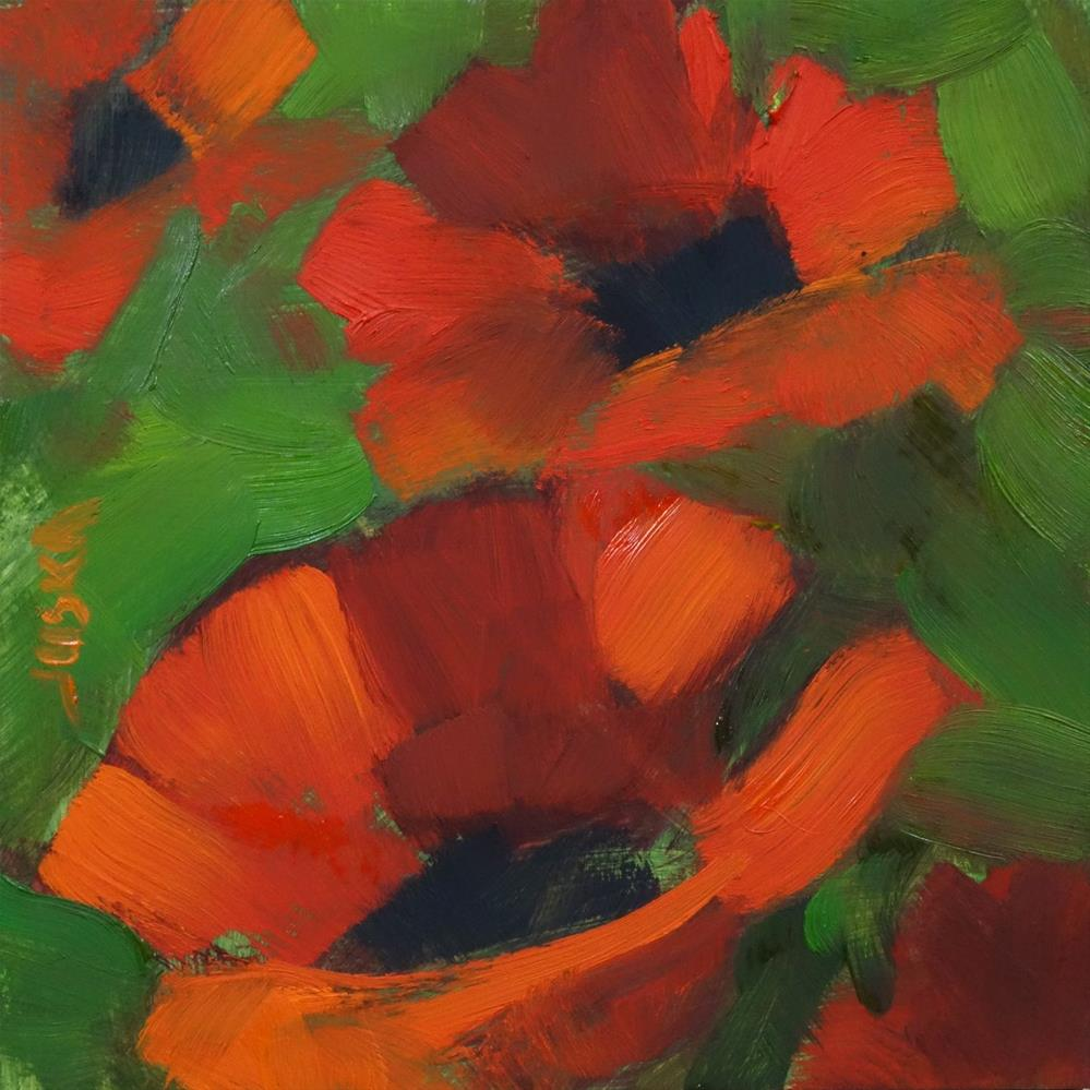 """Tiny Poppy Painting"" original fine art by Elaine Juska Joseph"