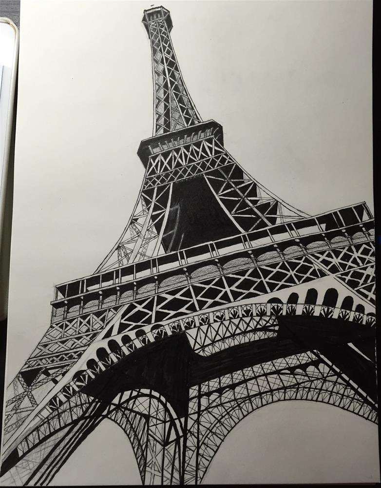 """Eiffel Tower"" original fine art by Jiani Shan"