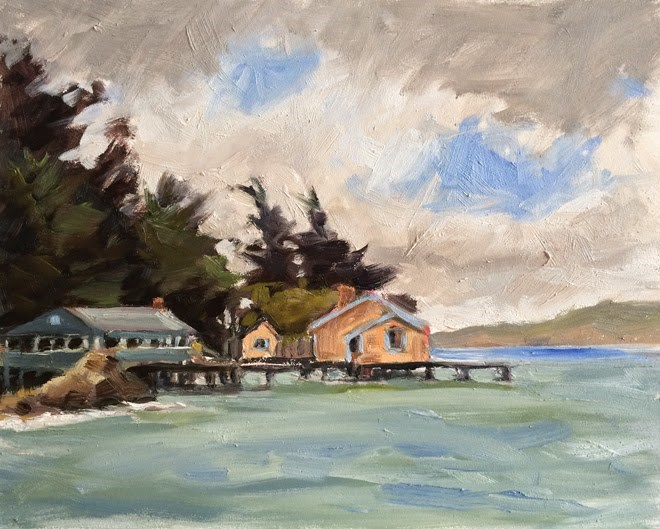 """Foggy Tomales Bay"" original fine art by Deborah Newman"