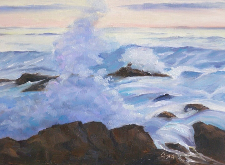 """Maine Wave, 8x10 Oil on Canvas Board"" original fine art by Carmen Beecher"