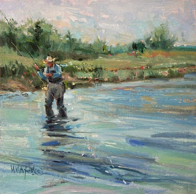 """Off The Range - fly fishers and cowboys"" original fine art by Mary Maxam"
