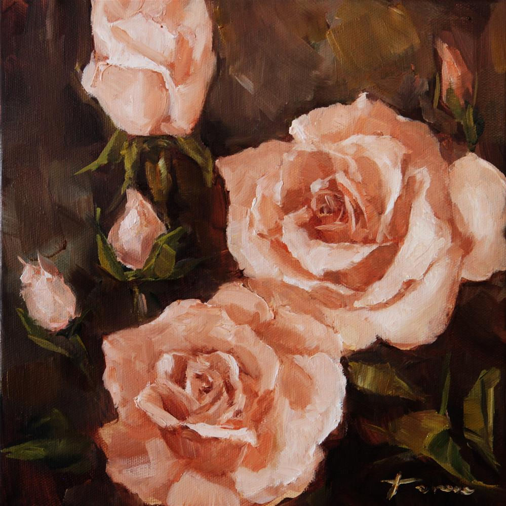 """Peach Rose 02"" original fine art by Teresa Yoo"