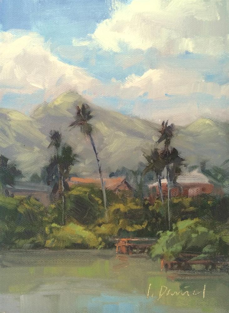 """""""Hillside Dwellings - Postcard from Hawaii"""" original fine art by Laurel Daniel"""