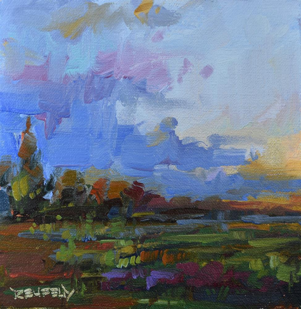 """Sunset on The Farm"" original fine art by Cathleen Rehfeld"