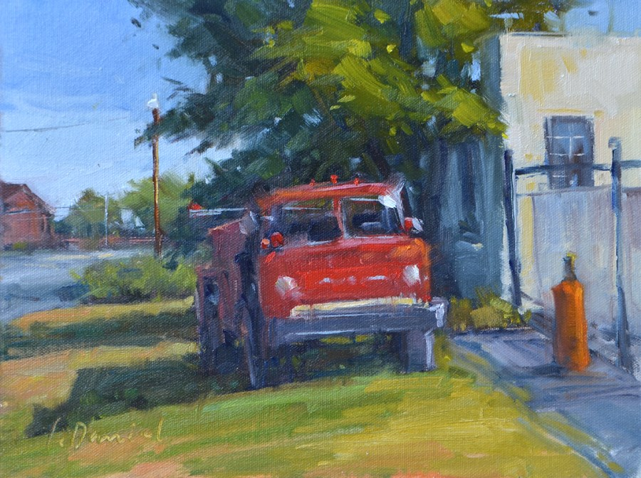 """Old Fire Truck - En Plein Air Texas!"" original fine art by Laurel Daniel"