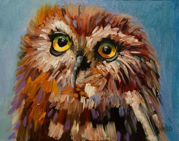 """""""ARTOUTWEST OWLOil Painting Diane Whitehead Fine Art"""" original fine art by Diane Whitehead"""