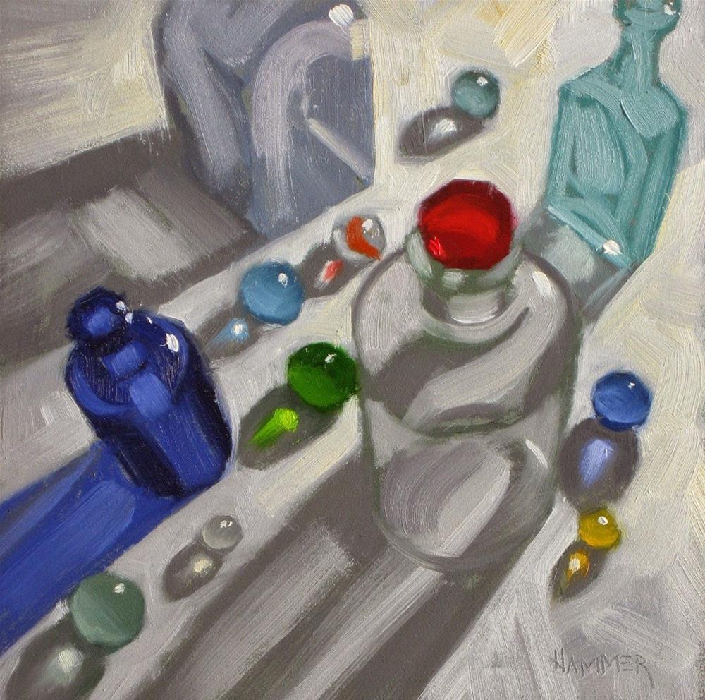 """In the Big City  6 x 6  oil"" original fine art by Claudia Hammer"