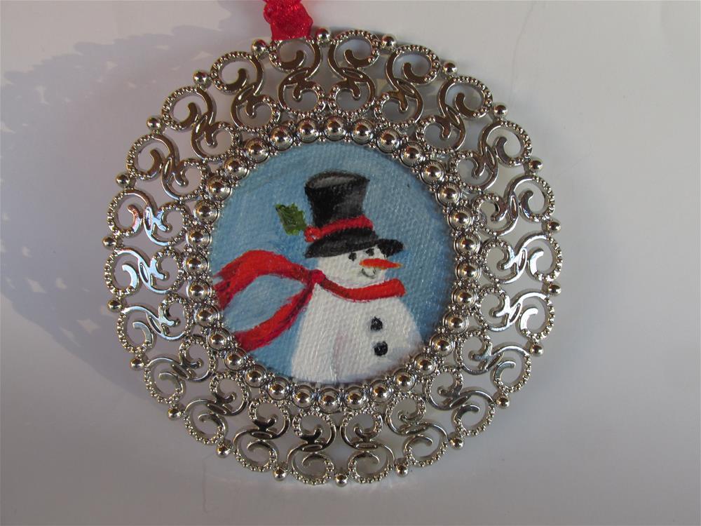 """""""Round Snowman Ornament"""" original fine art by Ruth Stewart"""