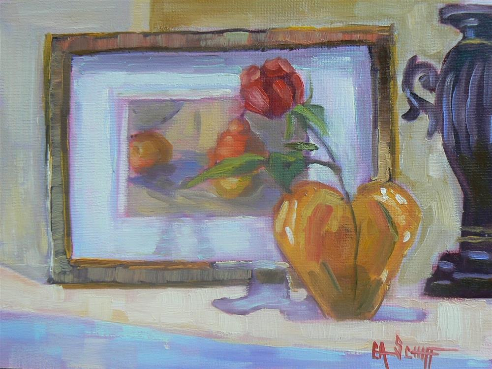 """Painting on Sale, Small Oil Painting, The Mantle by Carol Schiff, 6x8 Oil"" original fine art by Carol Schiff"