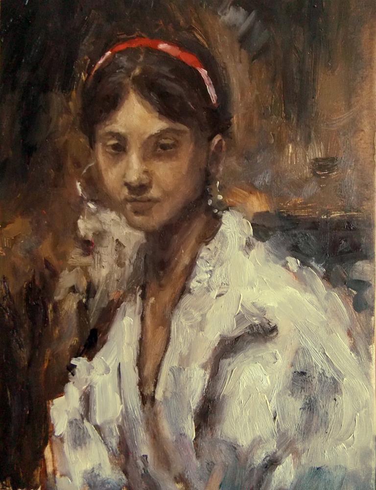 """Head of a Capri Girl, study by Sargent"" original fine art by Aleksandra Uzarek"