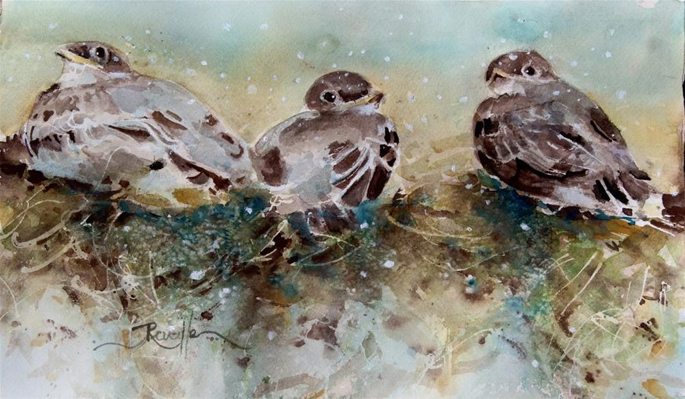 """3 Sparrows"" original fine art by Reveille Kennedy"