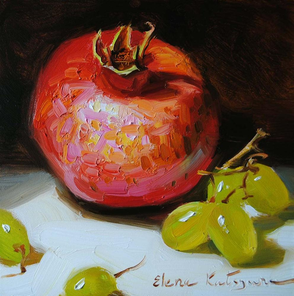 """Pomegranate and Grapes"" original fine art by Elena Katsyura"