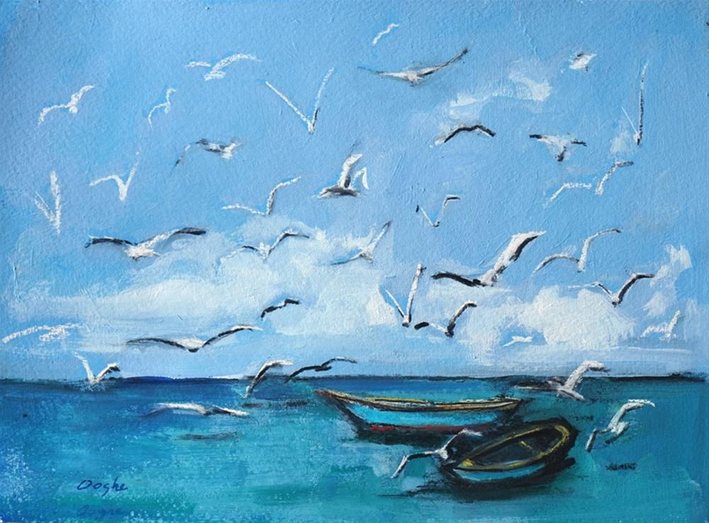 """Seagulls over Dinghies"" original fine art by Angela Ooghe"