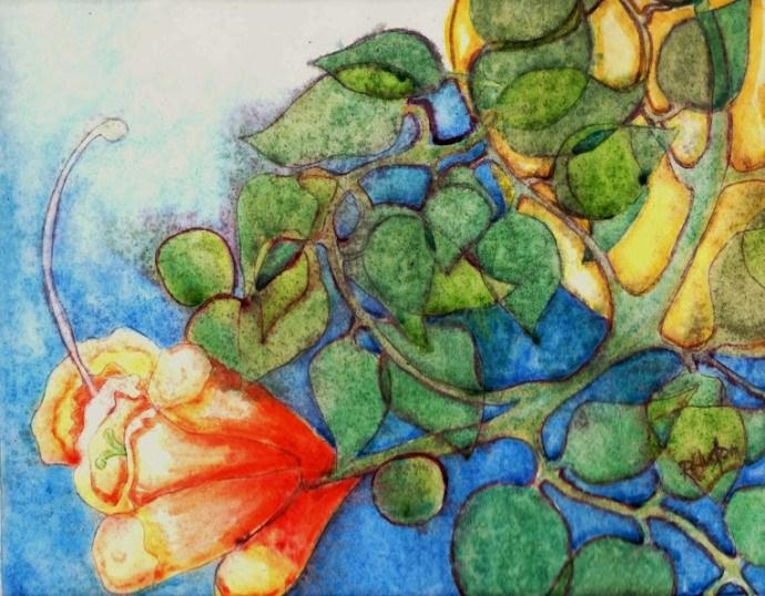 """out my backdoor 05... Trumpet Vine"" original fine art by Richard Huston"