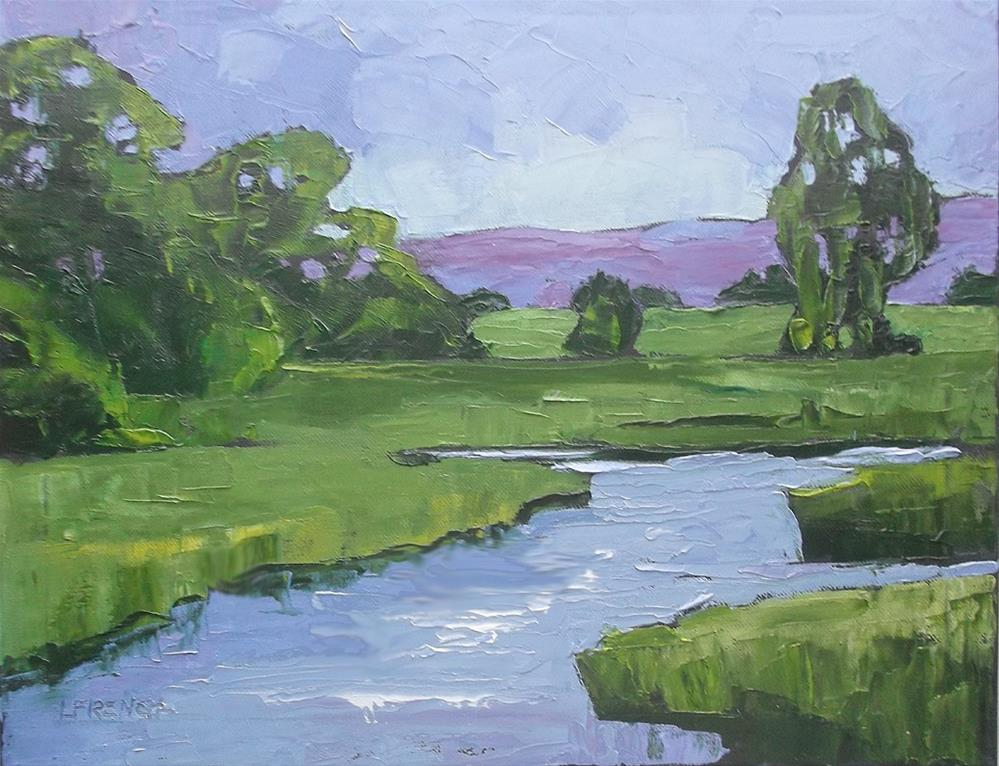 """Impressionist California Landscape Meadow Stream 16x20 Lynne French"" original fine art by lynne french"