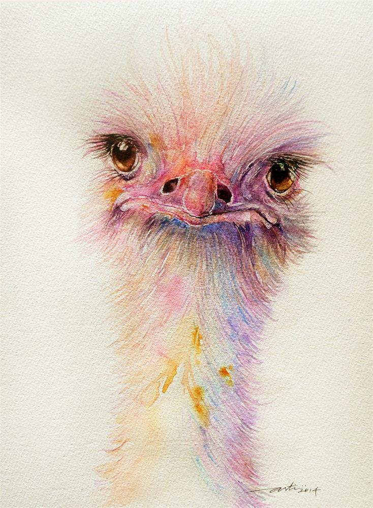 """Ozzy the Ostrich"" original fine art by Arti Chauhan"