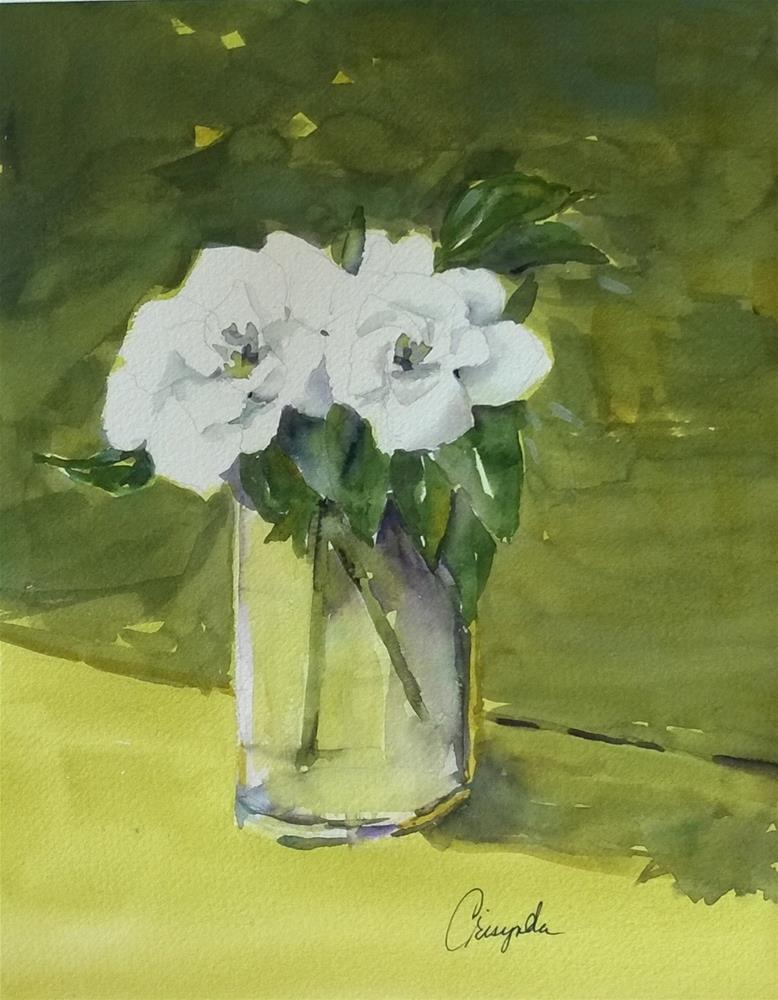 """Two Gardenias No. 1"" original fine art by Crisynda Buss"
