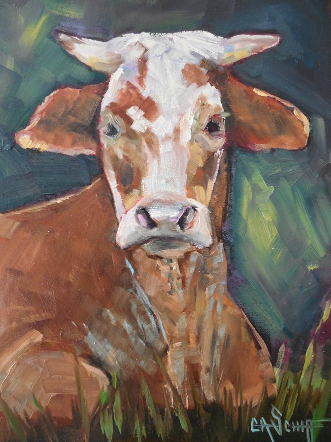 """Cow Painting, Daily Painting,  Small Oil Painting,  Mooooooo by Carol Schiff"" original fine art by Carol Schiff"