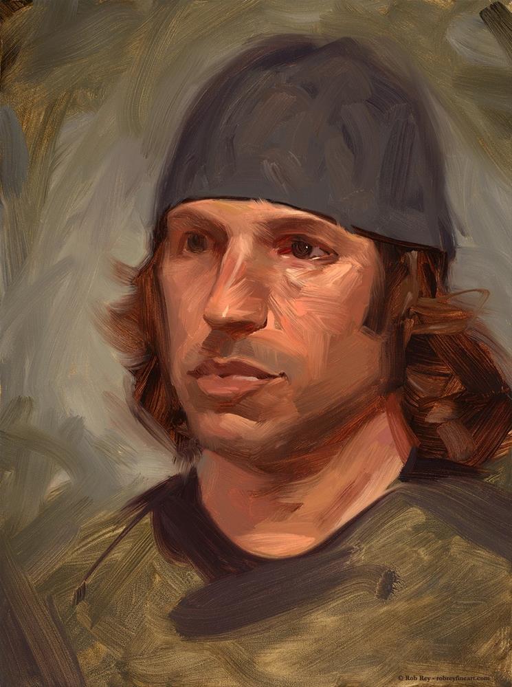 """Attentive"" original fine art by Rob  Rey"