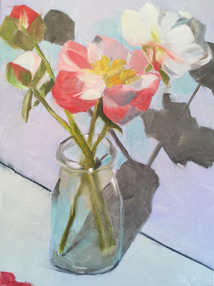 """240 First Peonies"" original fine art by Jenny Doh"