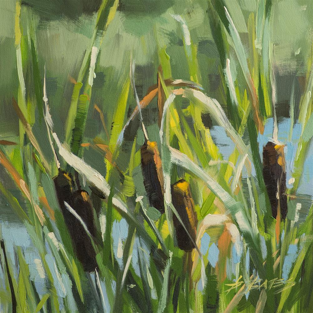"""Cattails at Mary Kyer"" original fine art by David Bates"