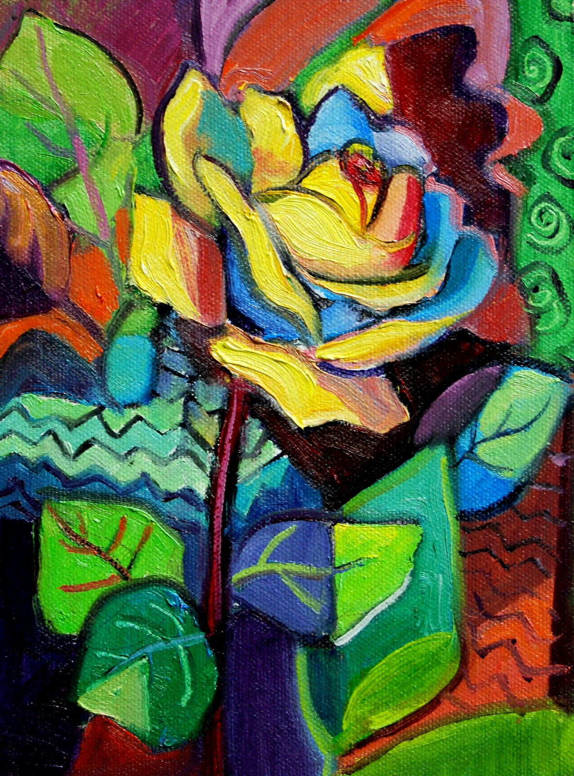 """Rose in the Style of Picasso"" original fine art by Julie Ford Oliver"