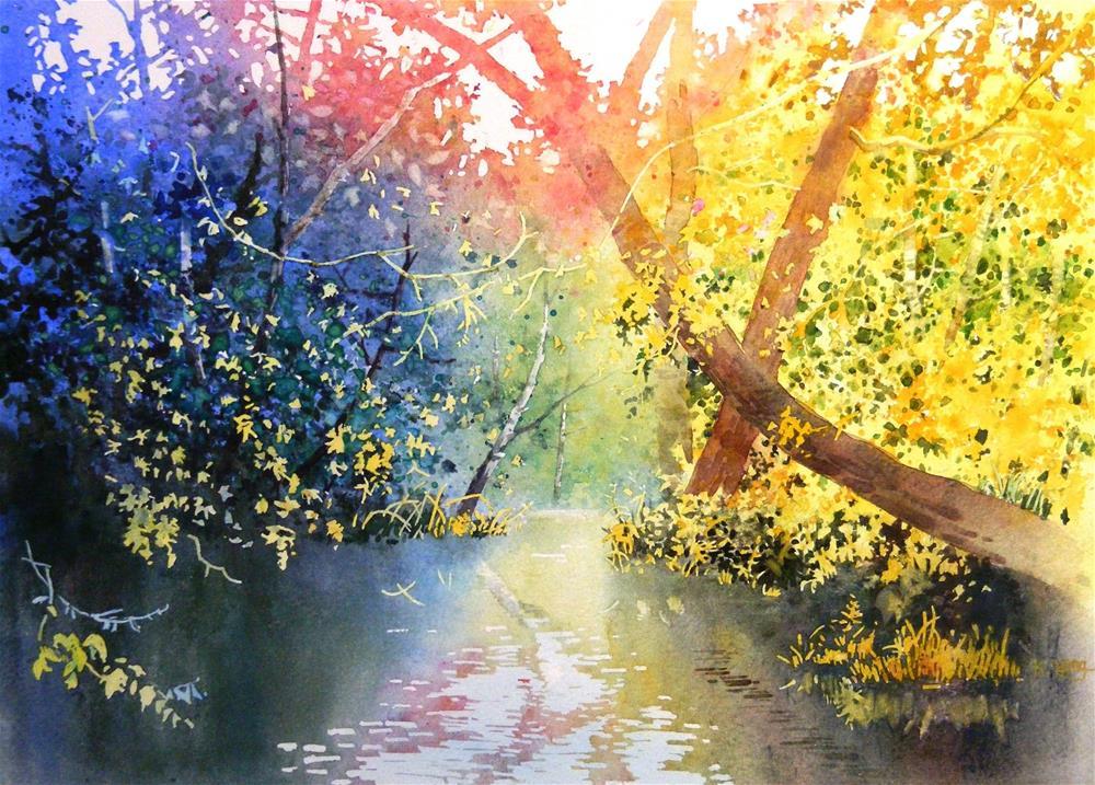 """Color of trees"" original fine art by Celine K.  Yong"