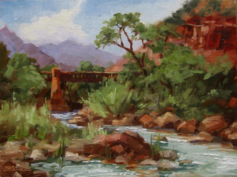 """Bridge At Canyon Junction"" original fine art by Karen Werner"
