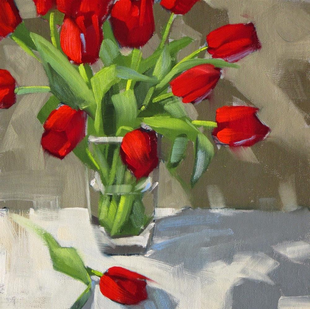 """Tulips, take two  8 x 8  oil"" original fine art by Claudia Hammer"