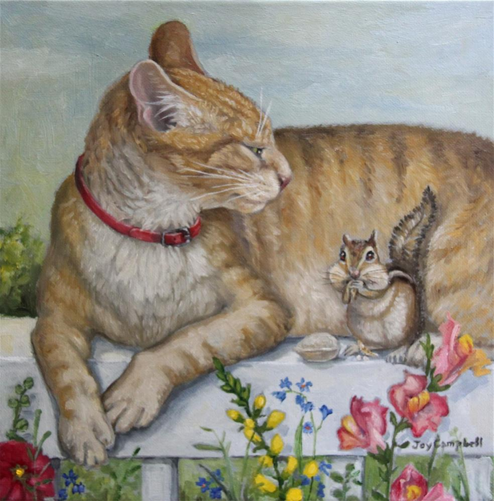 """Sharing the Ledge"" original fine art by Joy Campbell"