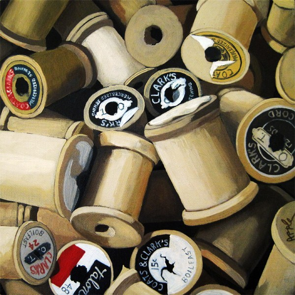 """Vintage Wood Thread Spools - realism still life oil painting"" original fine art by Linda Apple"