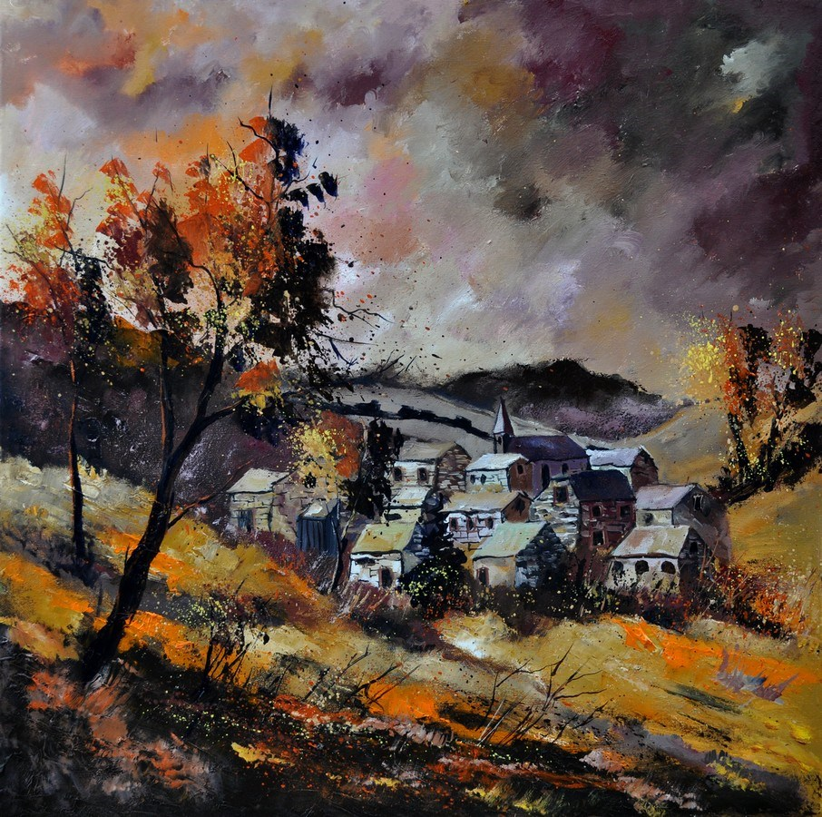 """Village in autumn 7741"" original fine art by Pol Ledent"