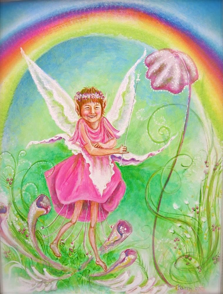"""Rainbow Fairy"" original fine art by Karen Roncari"
